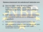 wymiana zniszczonych lub uszkodzonych banknot w euro