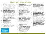 main products excluded