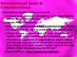 international laws considerations