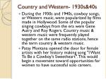 country and western 1930s 40s