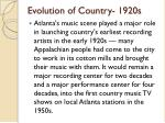 evolution of country 1920s