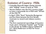 evolution of country 1920s1