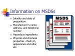 information on msdss
