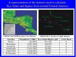 a representation of the datasets used to calculate eco value and impact from around central america