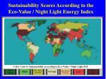 sustainability scores according to the eco value night light energy index