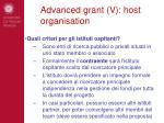 advanced grant v host organisation