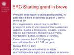 erc starting grant in breve