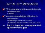 initial key messages