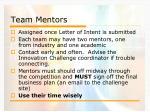 team mentors