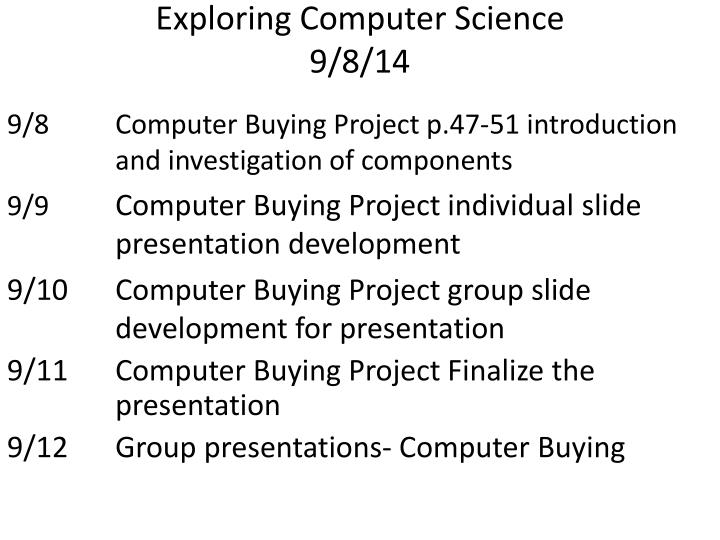 exploring computer science 9 8 14 n.