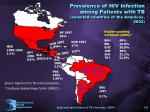 prevalence of hiv infection among patients with tb selected countries of the americas 2002