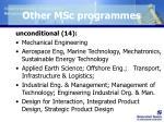 other msc programmes