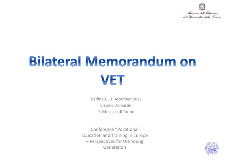 bilateral memorandum on vet n.