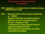 development of research ethics in indonesia
