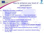 how to enhance your level of participation