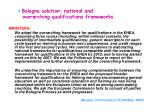 bologna solution national and overarching qualifications frameworks