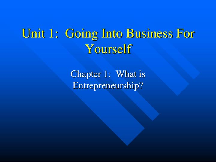 unit 1 going into business for yourself n.