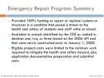 emergency repair program summary