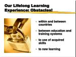 our lifelong learning experience obstacles