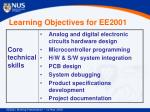 learning objectives for ee2001