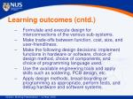 learning outcomes cntd
