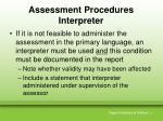 assessment procedures interpreter