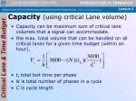 capacity using critical lane volume