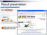 result presentation