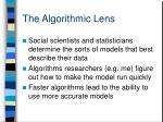 the algorithmic lens