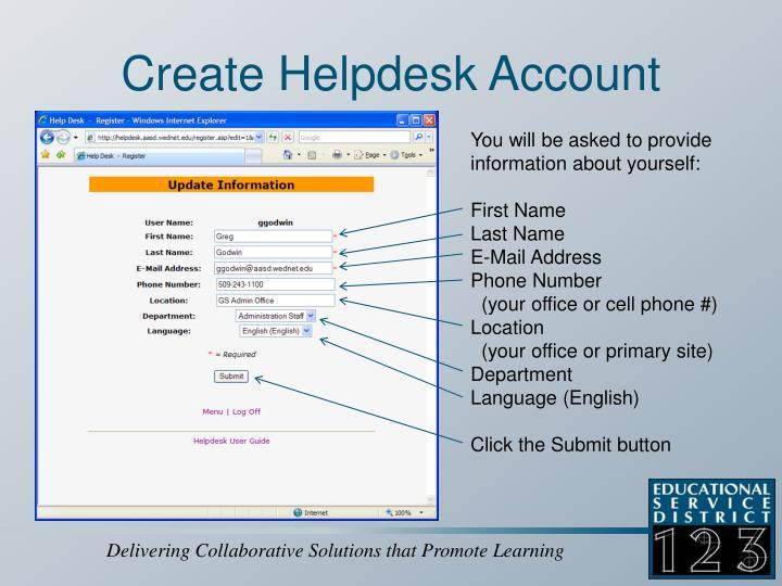 Create Helpdesk Account