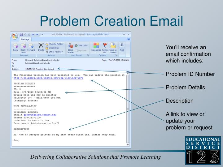 Problem Creation Email