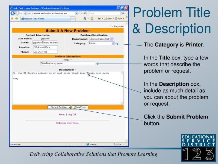 Problem Title & Description