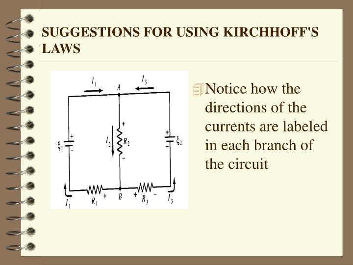 SUGGESTIONS FOR USING KIRCHHOFF'S LAWS