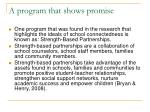 a program that shows promise