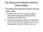 the resource selection activity deliverables