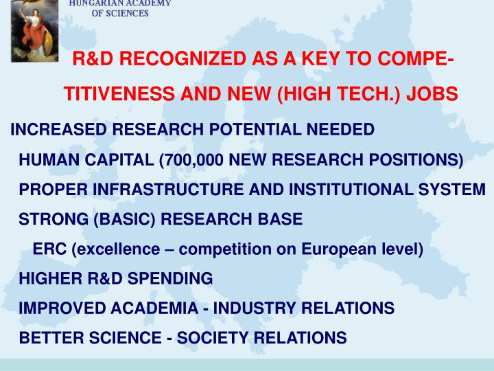 R&D RECOGNIZED AS A KEY TO COMPE-