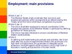 employment main provisions