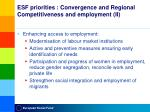 esf priorities convergence and regional competitiveness and employment ii