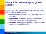europe 2020 new strategy for growth and jobs