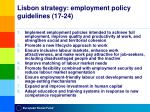 lisbon strategy employment policy guidelines 17 24