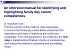 an interview manual for identifying and highlighting family day carers competences