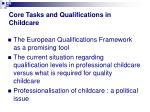 core tasks and qualifications in childcare