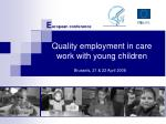 quality employment in care work with young children