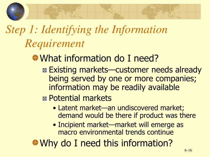 Step 1: Identifying the Information Requirement
