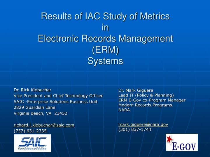 results of iac study of metrics in electronic records management erm systems n.