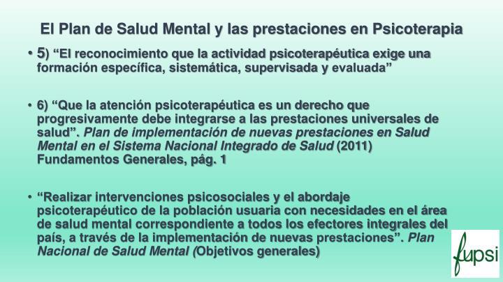 El Plan de Salud Mental y las prestaciones en Psicoterapia
