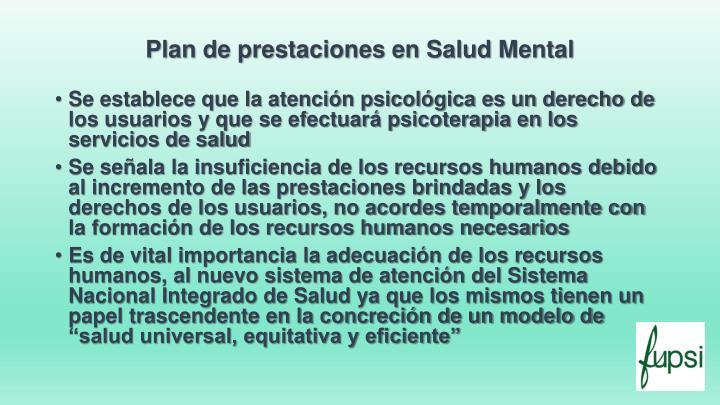 Plan de prestaciones en salud mental