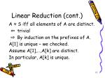 linear reduction cont
