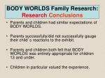 body worlds family research research conclusions