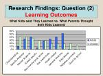 research findings question 2 learning outcomes